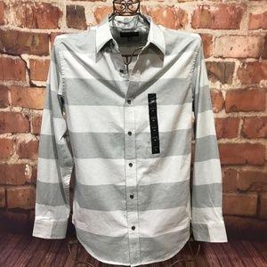 Mens BANANA REPUBLIC Gray Stripe Long Sleeve Shirt